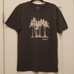 *NWOT* Asics gray mens shirt with palm tree sz M